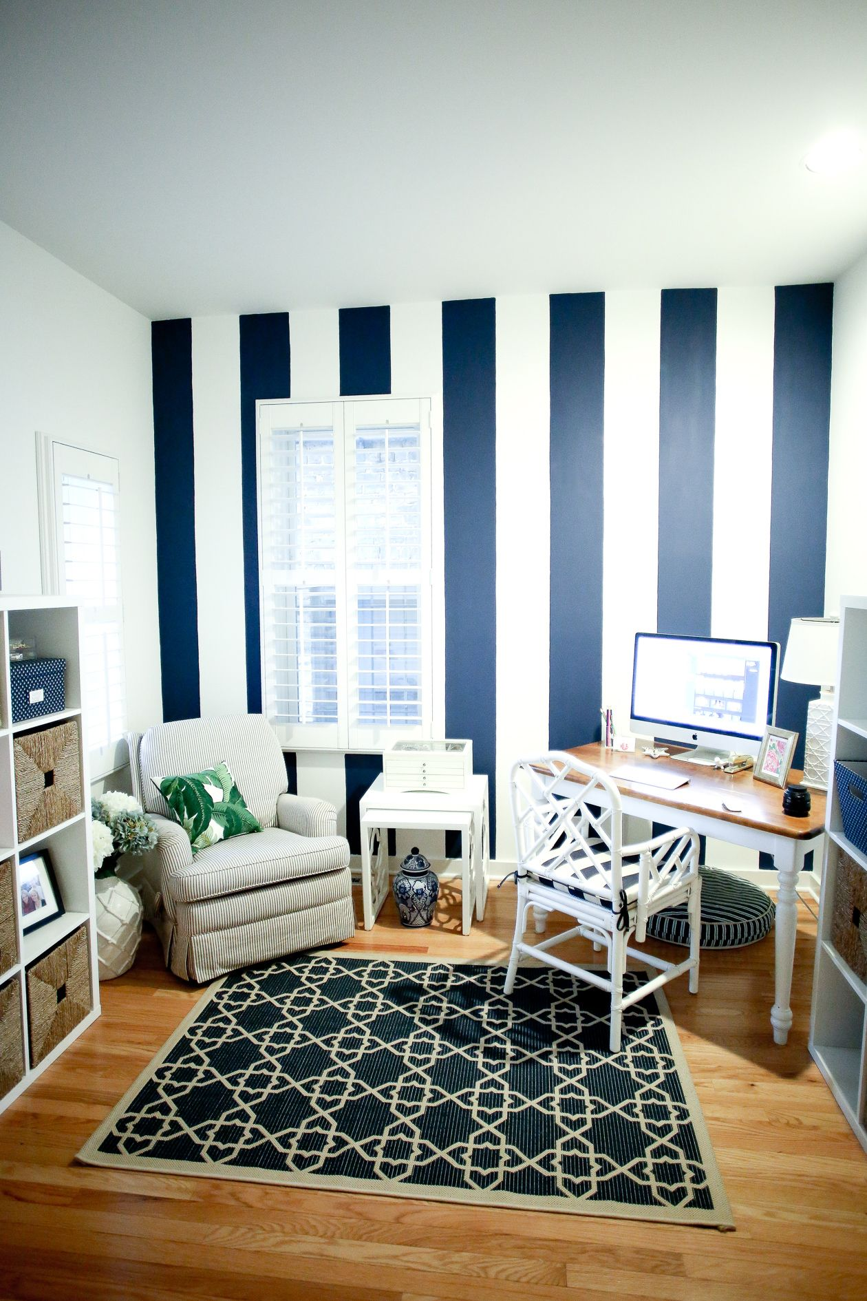 Navy Striped Wall Striped walls bedroom, Striped walls