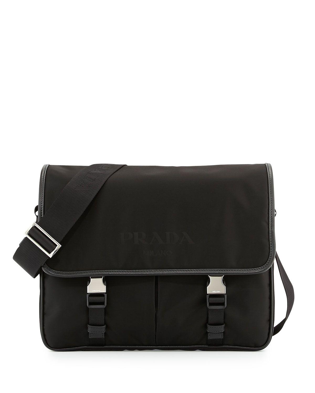 42d7951bc80 Men s Large Nylon Messenger Bag, Black - Prada    Neiman Marcus ...