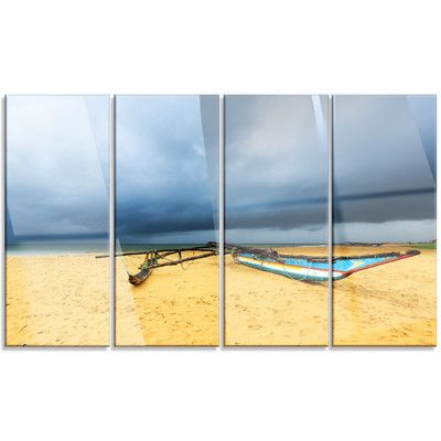 DesignArt 'Beach with Dark Clouds Above Ocean' 4 Piece Photographic Print on Canvas Set