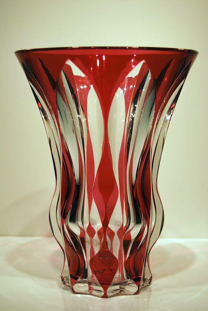 Grand Vase Cristal Val St Lambert Art Deco 1950 25 Cm Doubl Art