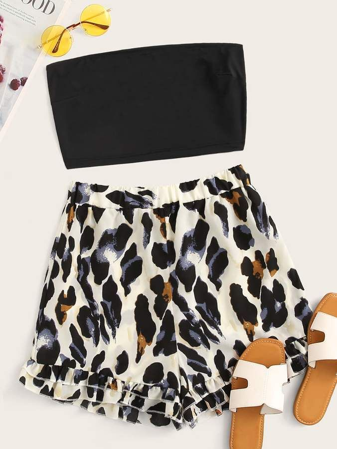Shein Solid Tube Top With Leopard Ruffle Hem Shorts #tubetopoutfits