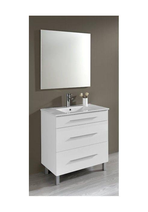 Muebles Bano Lavabo Cristal.Conjunto Mueble De Bano Aris 80 Cm Blanco Con Tres Cajones