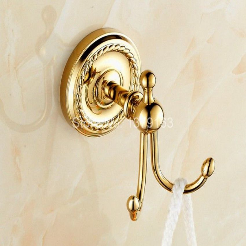 Click To Buy Bathroom Accessory Gold Color Brass Wall Mounted Bathroom Double Robe Hook Coat Hat Towel Hook Han Towel Hooks Bathroom Accessories Bathroom