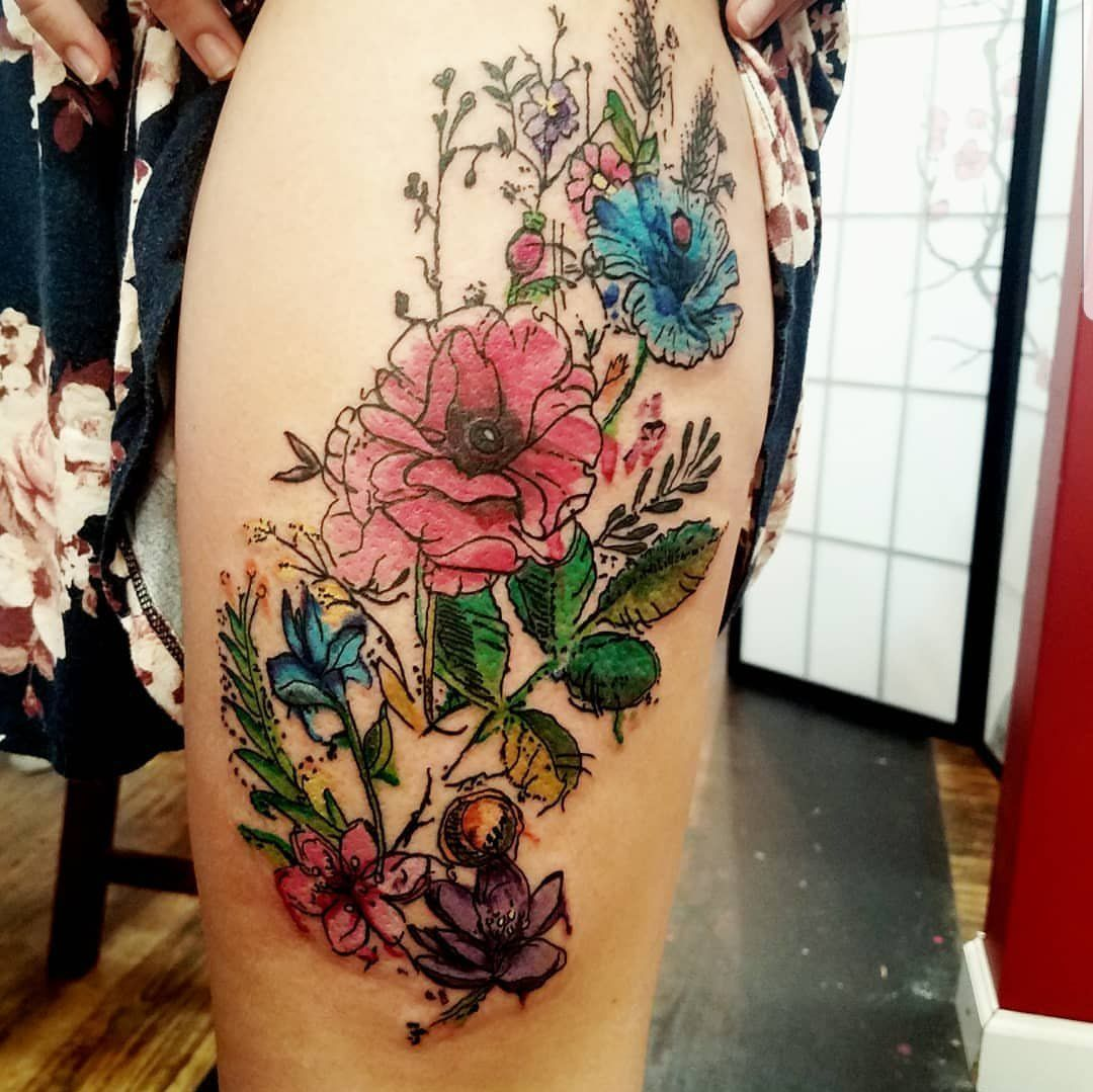 Watercolor flowers by Jay Gregorowicz at Frew Tattoo, Danville, PA : tattoos