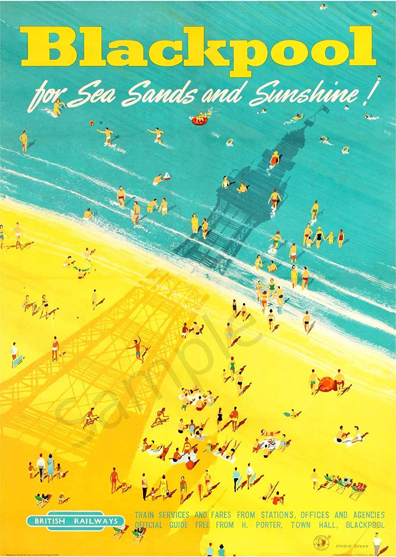 Vintage British Rail Poster Blackpool Beach/Tower Tourism ...