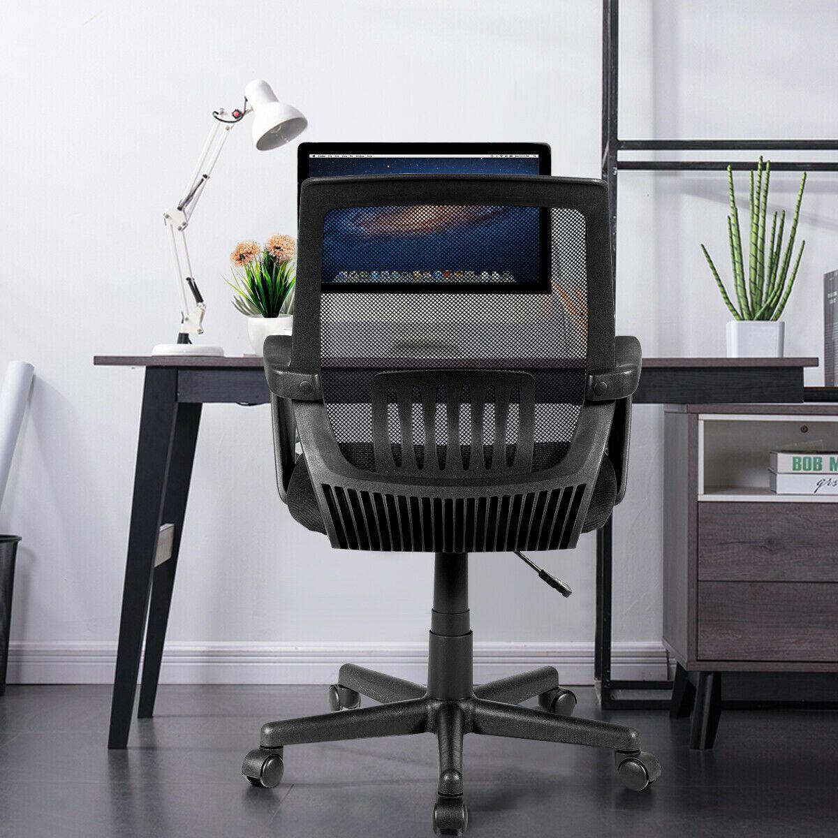 Silla de oficina de malla giratoria ajustable giratoria con soporte lumbar