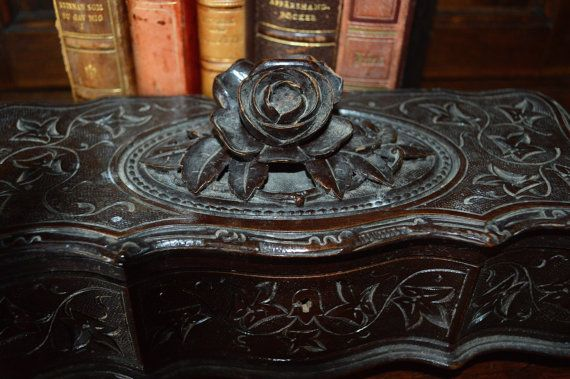 Antique French Carved Ornate Wood Black Forest by VintageFleaFinds