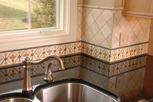 Hand Painted Kitchen Border Tile Backsplash By Neal S Design Remodel