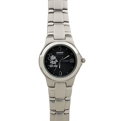 Citizen® Eco-Drive® Stainless Steel Mickey Mouse Watch for