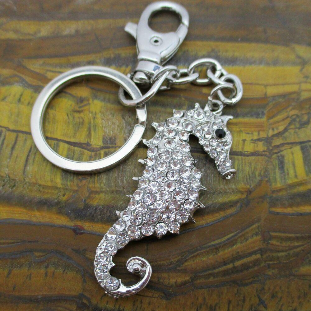Silver Metal Keychains Pendant Seahorse Keyrings