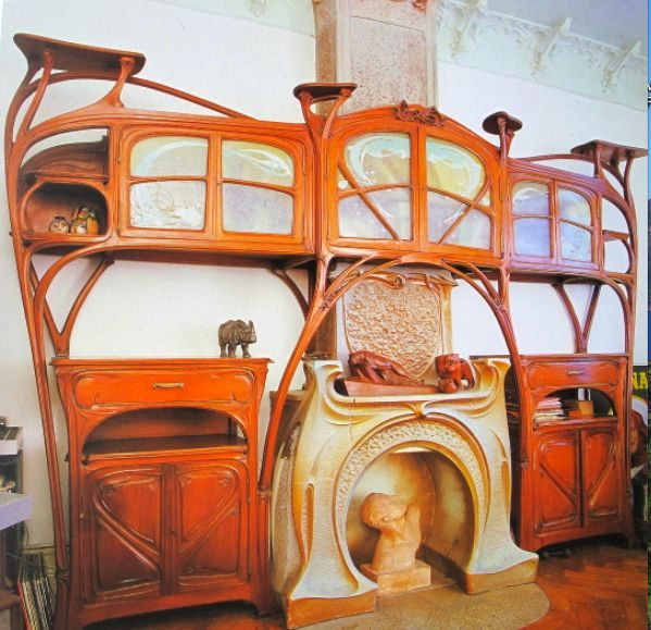 art nouveau la maison coilliot chemin e et boiseries. Black Bedroom Furniture Sets. Home Design Ideas