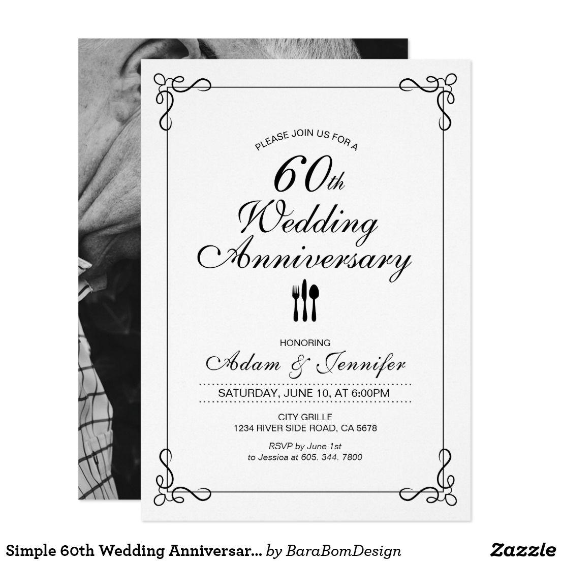 Simple 60th Wedding Anniversary Invitation Card | 60 wedding ...