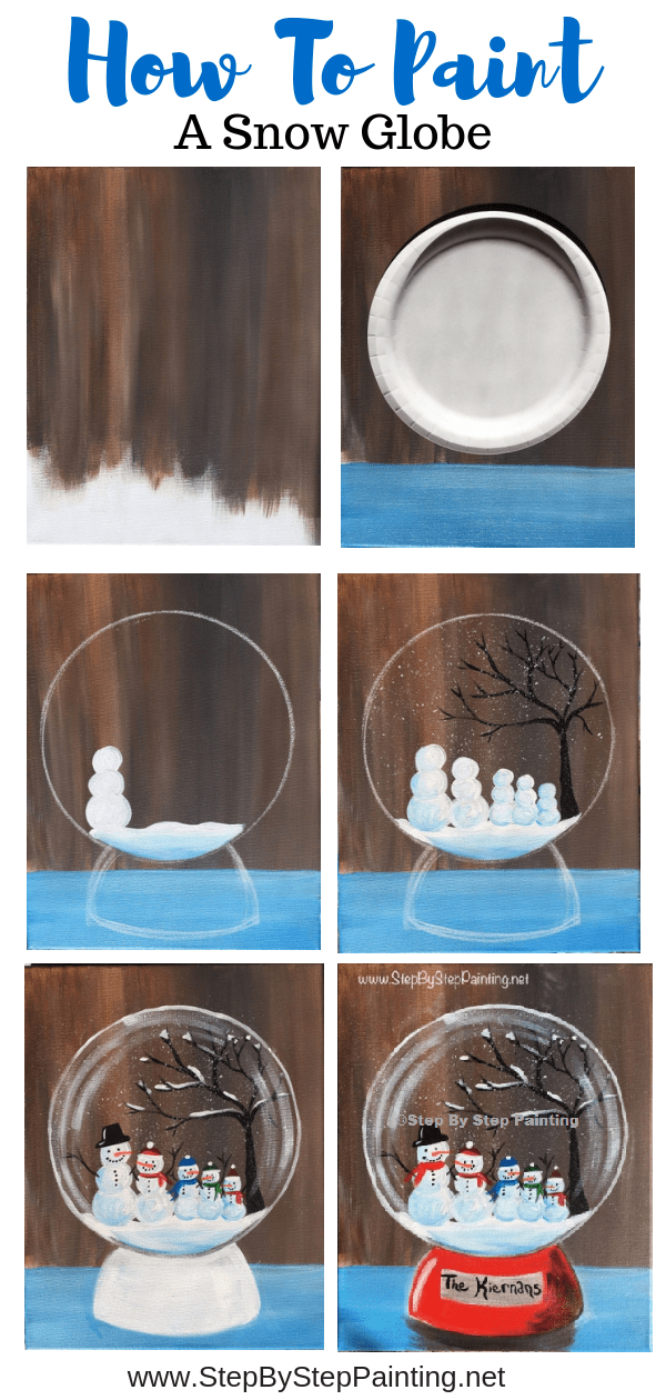 How To Paint A Snow Globe Simple Acrylic Paintings Holiday Painting Christmas Paintings On Canvas