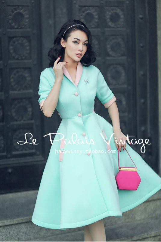 Le Palais Vintage limited edition retro fresh sweet mint green hit color high waist dress/vestidos