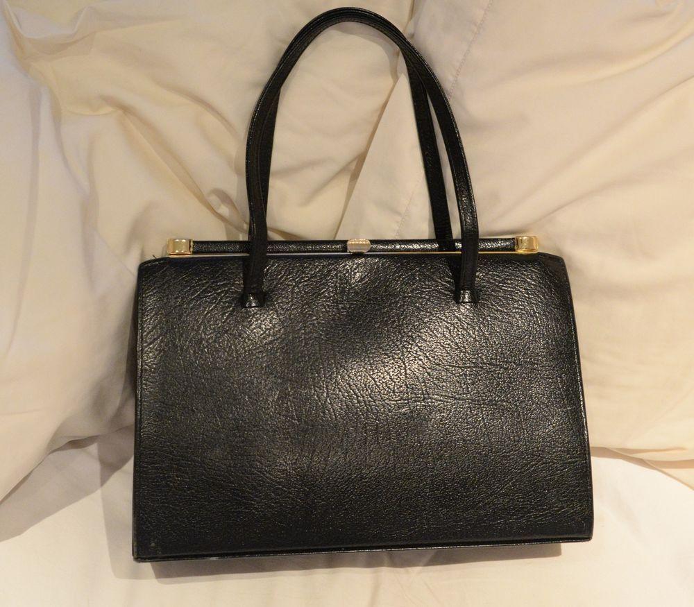 Vintage Black Garfields of London Leather Metal Frame Handbag Tote ...