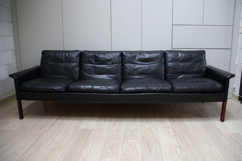 Peachy For Sale Hans Olsen 4 Seater Sofa In Black Leather Inzonedesignstudio Interior Chair Design Inzonedesignstudiocom