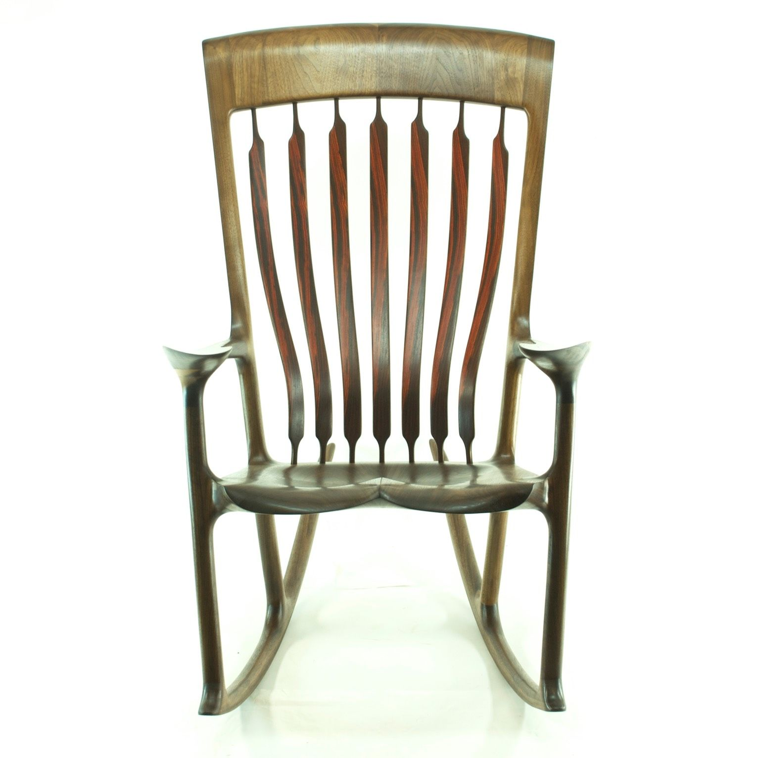 Walnut & Cocobolo Rocking chair, Wooden rocking chairs