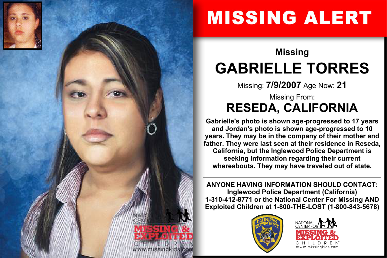 GABRIELLE TORRES, Age Now: 21, Missing: 07/09/2007  Missing From