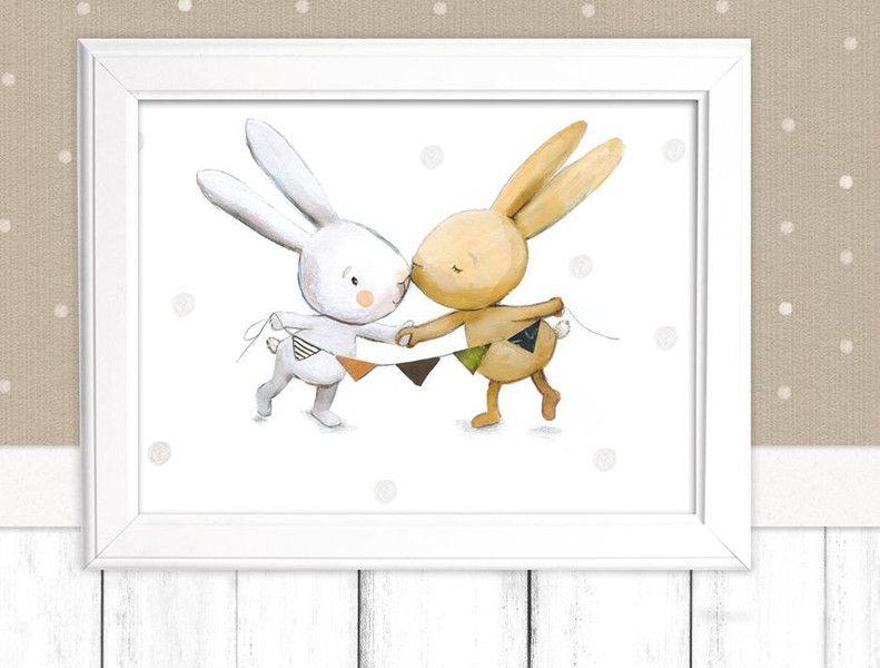 Bilder  Kinderbild Hasen frs Kinderzimmer Poster  ein Designerstck von pipapier bei
