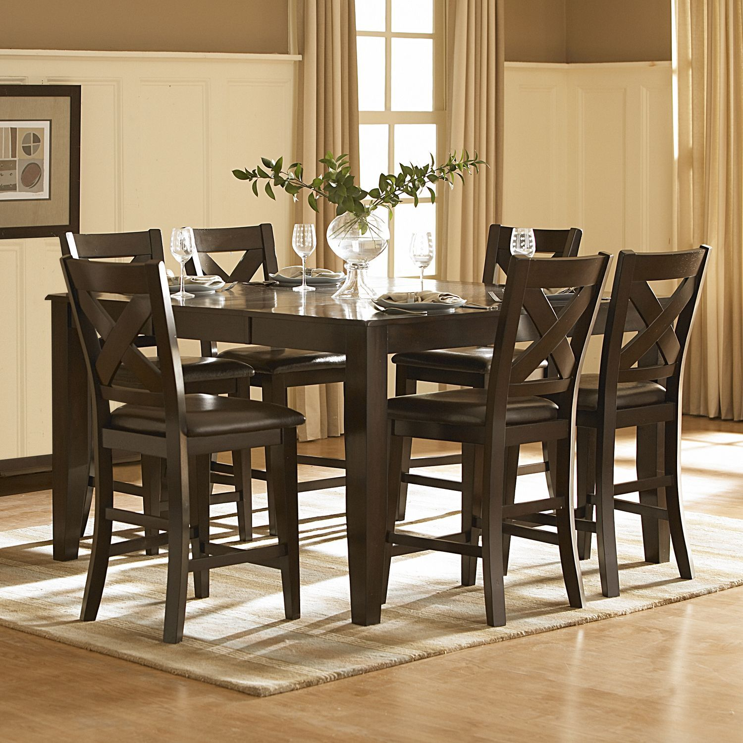Dining Room Counter Height Sets Tribecca Home Acton Merlot Xback 7Piece Counter Height Dining