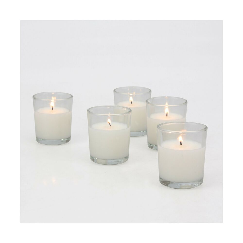 Stonebriar 48 Pack Unscented Long Burning Clear Glass Wax Filled Votive Candl Fashion Home Garden Homedcor Candles Ebay Link Glass Wax Votive Candles Glass Votive