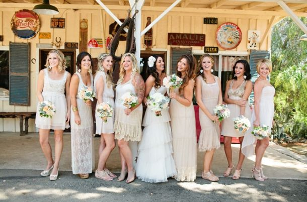 Swoon By Katie Via Green Wedding Shoes Mismatched Neutral Bridesmaid Dresses Neutrals Bridesmaids