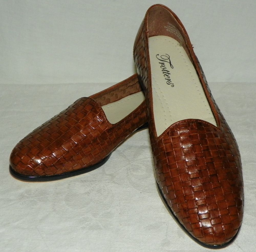 9c99c631a1f Trotters Brown Woven Leather Slip On Flats Loafers Shoes Womens Size 7 M  New  Trotters  Loafers