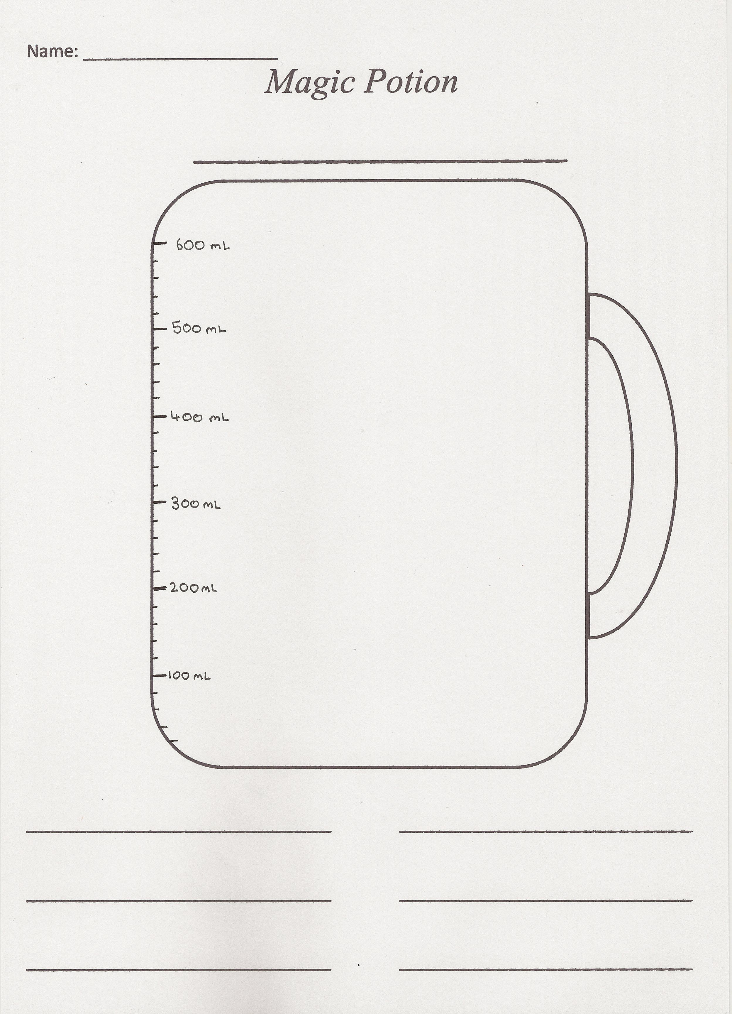 Measuring Jug Activity Sheet 2