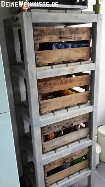 Weinkisten Mit Anti Holzwurm Warmebehandlung Als Schubladen In Selbstgebautem Kuchenregal Weinkisten Regal Regal Bauen Weinkisten