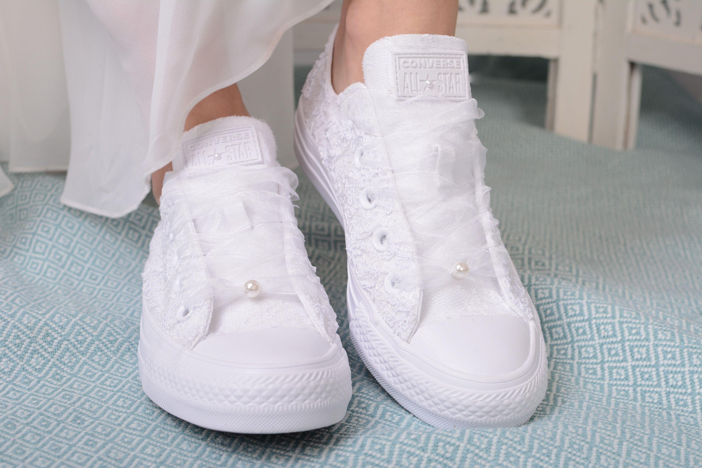 Luxury White Wedding Converse For Bride, Lace Converse Bridal ...