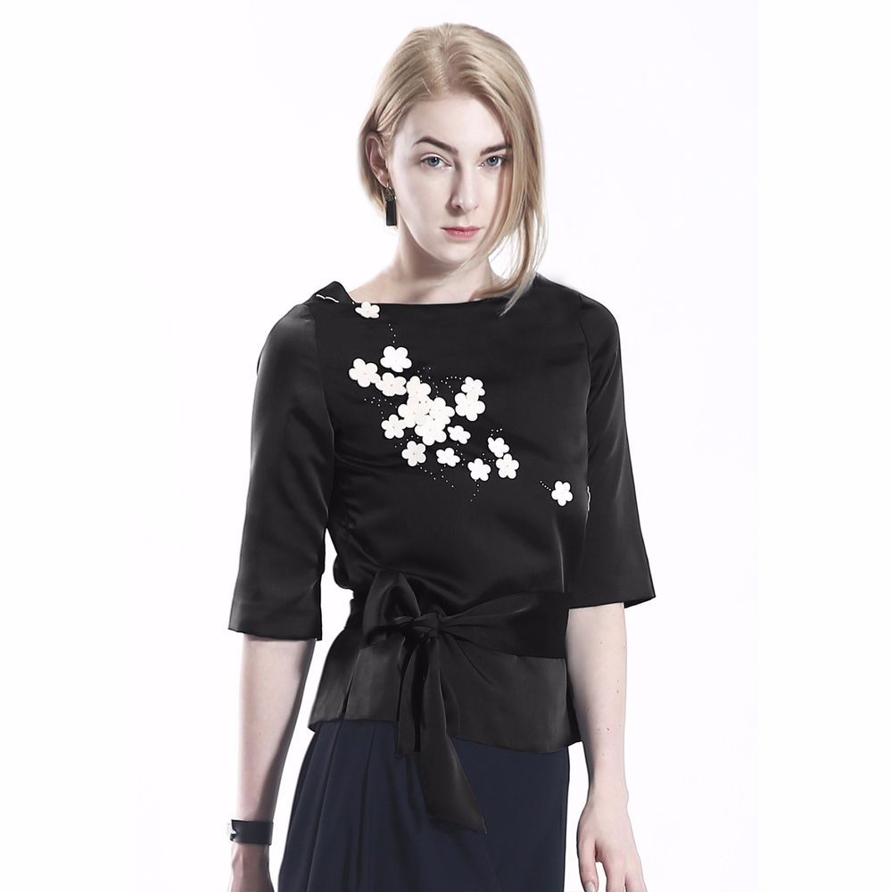 COLE COOL Black Satin Top with White Lambskin Leather Sakura Blossom #COLECOOL #CropTop #Casual
