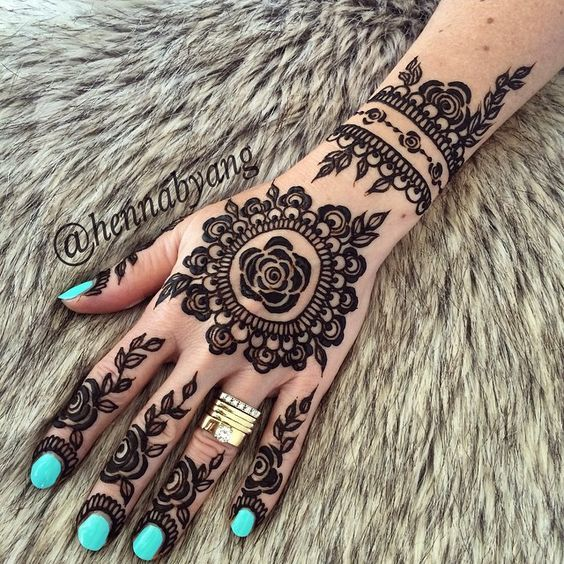 Henna Flower Tattoo Designs Wrist: Rose-mehndi-pattern-for-fingers-hand-and-wrist