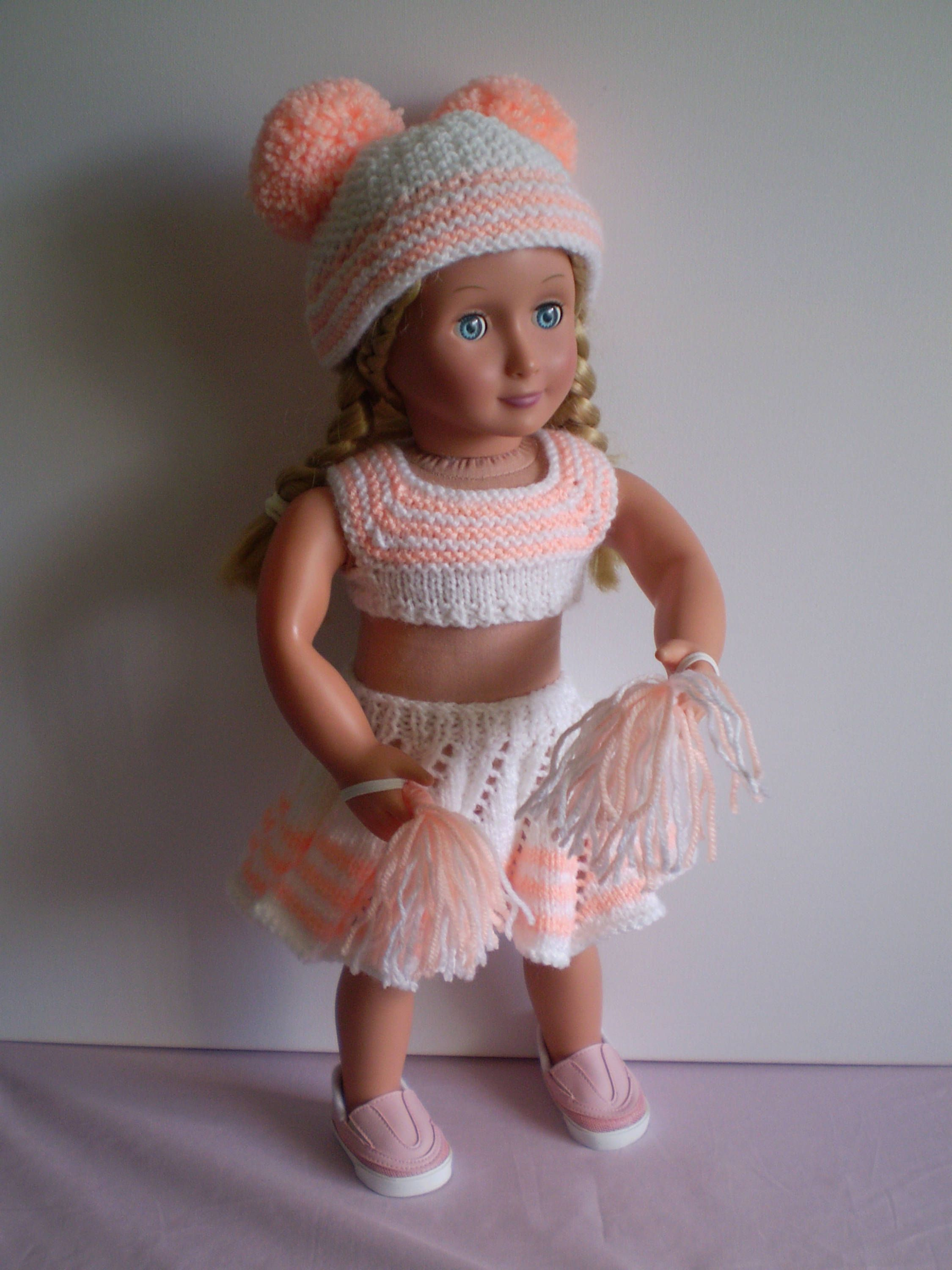 Hand knitted 18 inch Cheerleader outfit for poplar dolls #18inchcheerleaderclothes Hand knitted 18 inch Cheerleader outfit for poplar dolls by cazjeanknitting on Etsy #18inchcheerleaderclothes