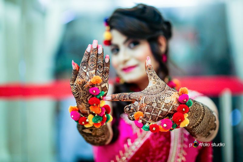 I Bridal Mehndi Jewellery : Mehendi jewellery with pompoms traditional indian