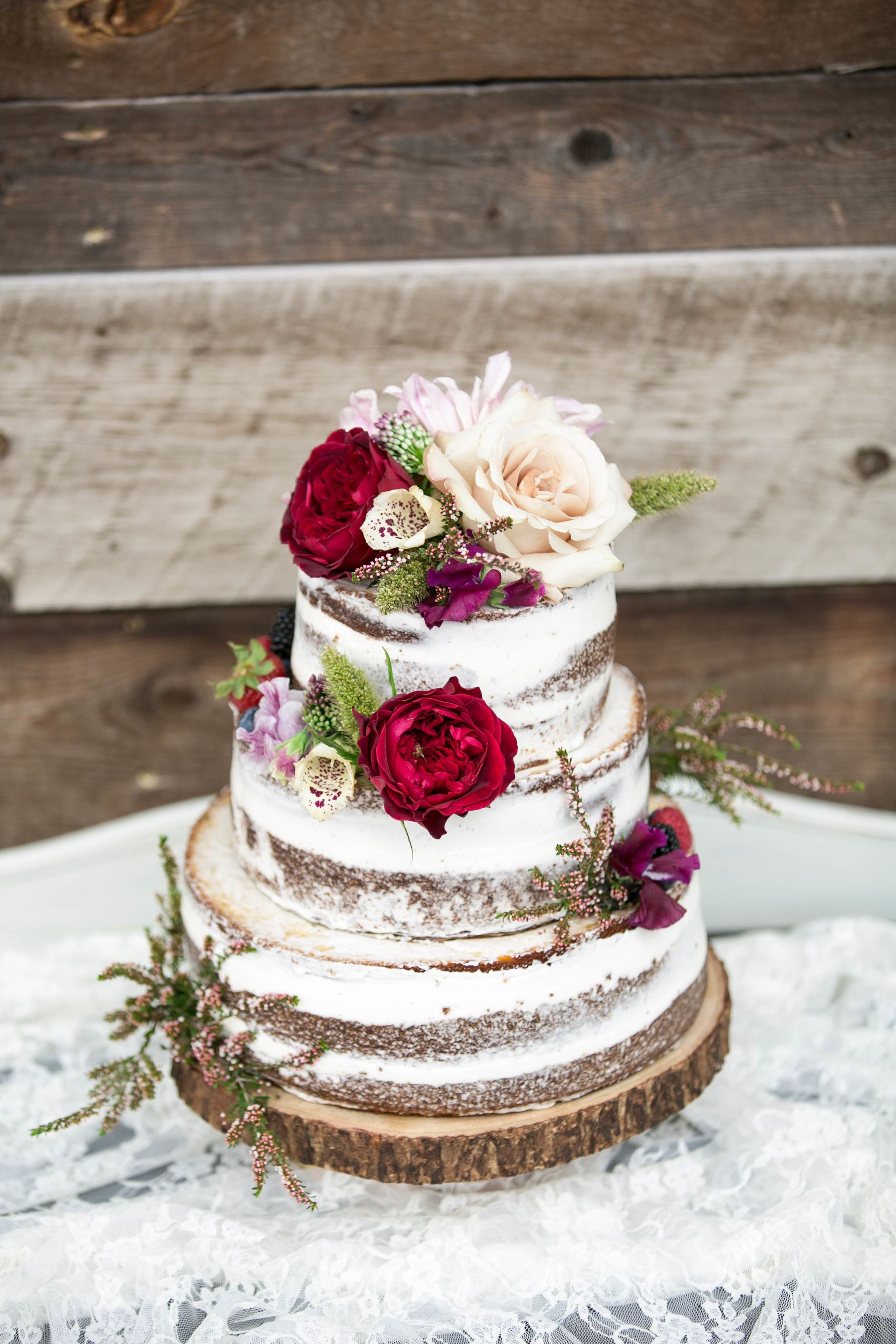 Cake Rustic Fl Topper Red And Cream Flowers Natural Wedding