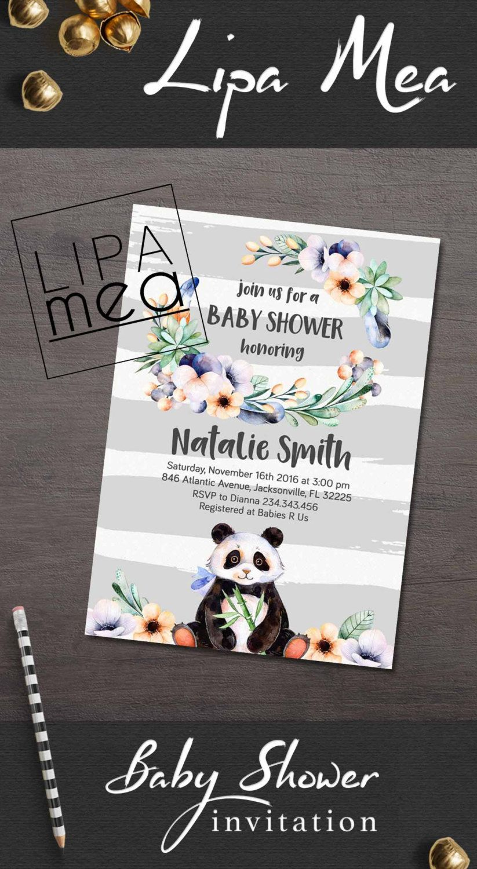 Boy Baby Shower Invitation, Panda Baby Shower Invitation, Bear Baby ...