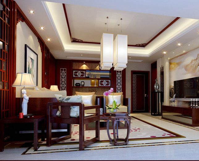 Chinese inspired interiors display bold colors along with ornate furniture and accessories.The furniture pieces tend to be carved wooden designs with hand-painted details and high-gloss lacquered surfaces.