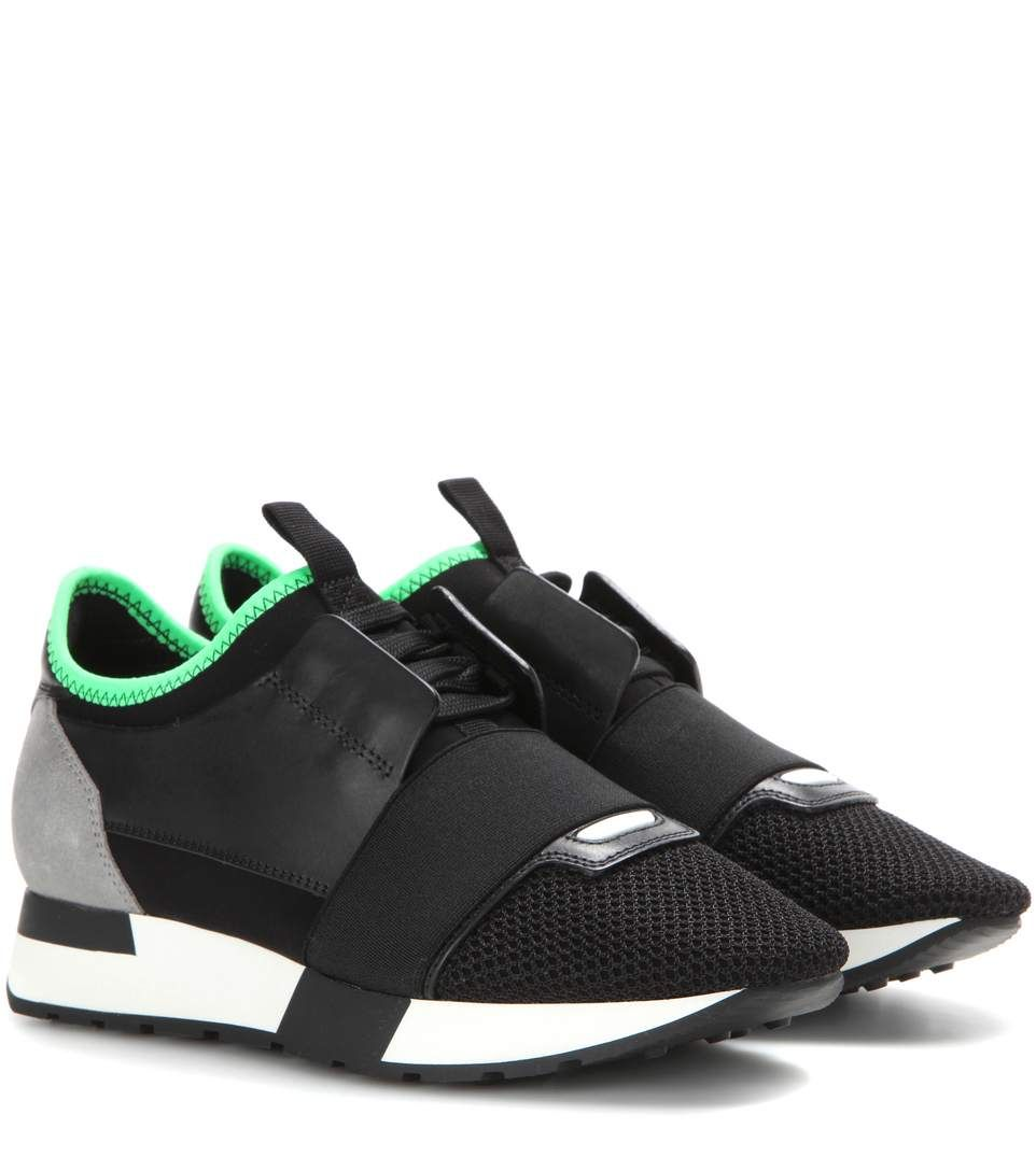 b6147a69d4cc4 BALENCIAGA Race Runner Leather And Fabric Sneakers in Black ...