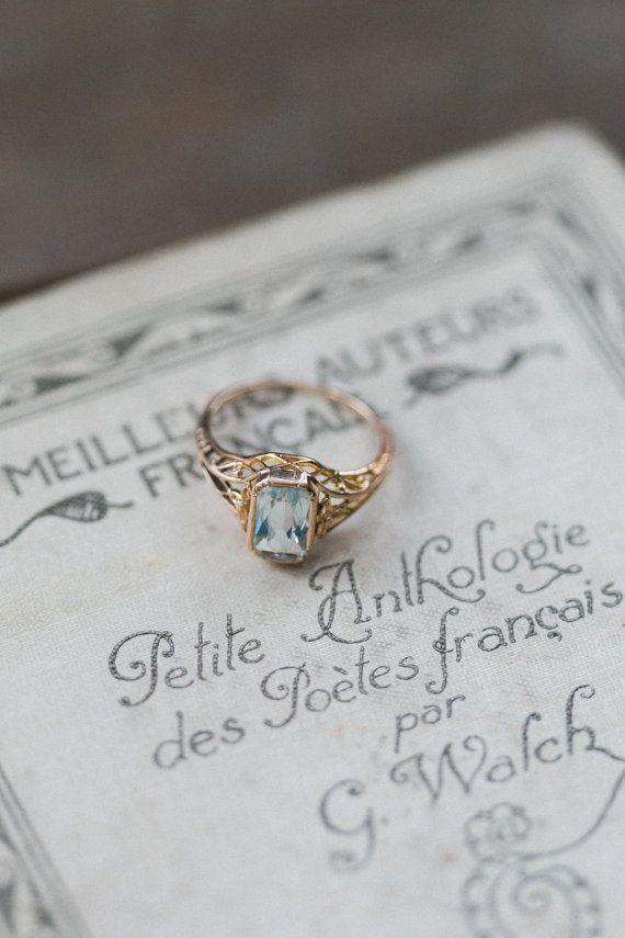 Photo of awesome Antique Aquamarine Ring, Art Deco Jewelry, Art Nouveau Ring, Antique Gol…