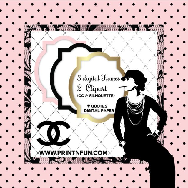 Chanel Book Cover Printable : Coco chanel digital paper patterns fondos digitales for