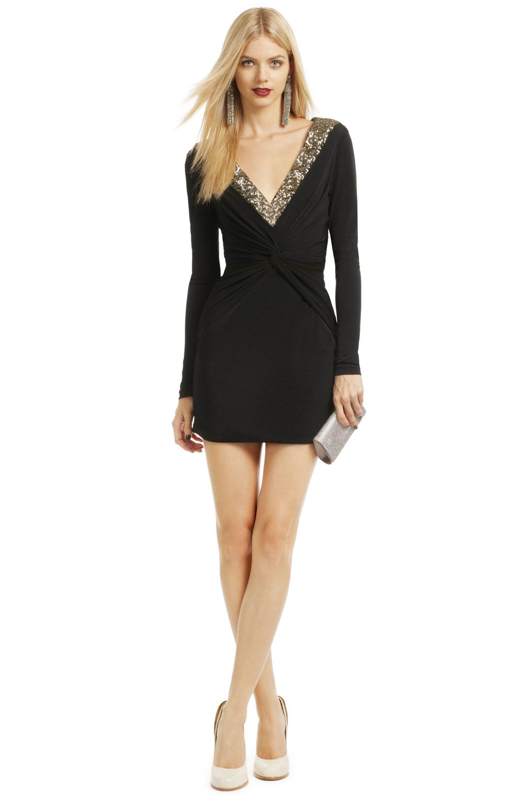 2e256eef6cc Dance the night away in a little black dress with a deep V. Rent this dress  and others  Lauren Thompson the Runway