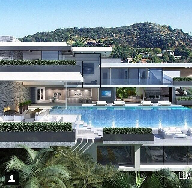 Modern Home Architecture White Cars Luxury Exterior Glass Pool Blue Rich