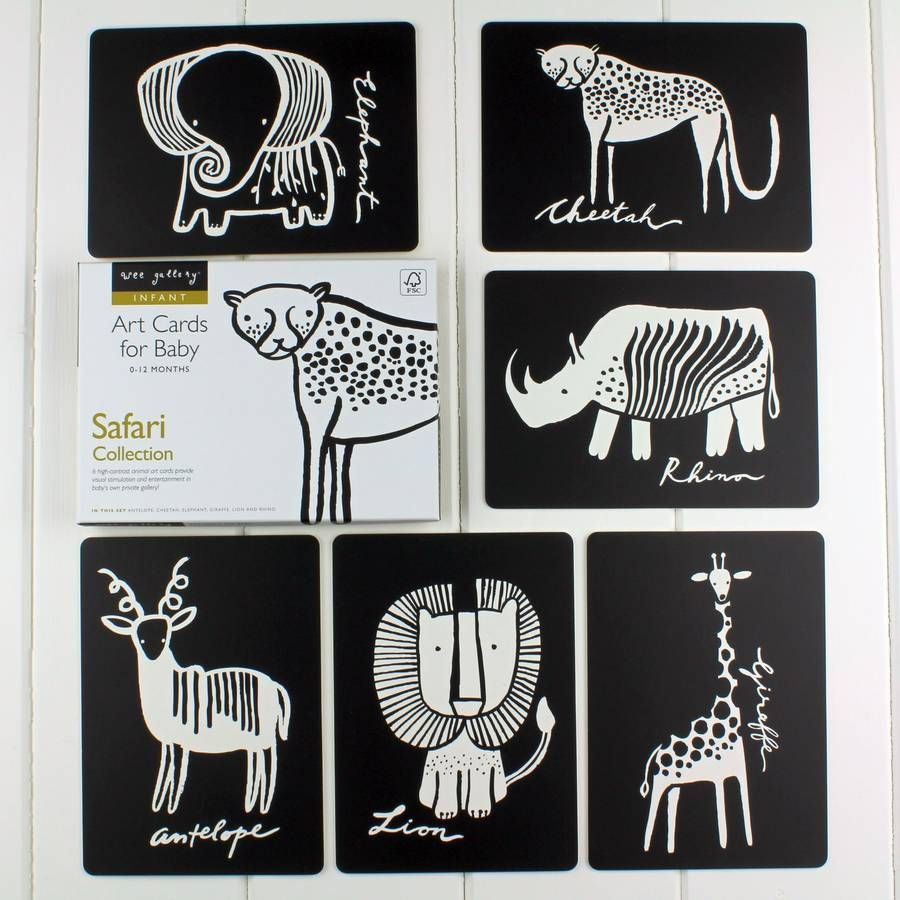 Black and white baby flash cards safari animals baby