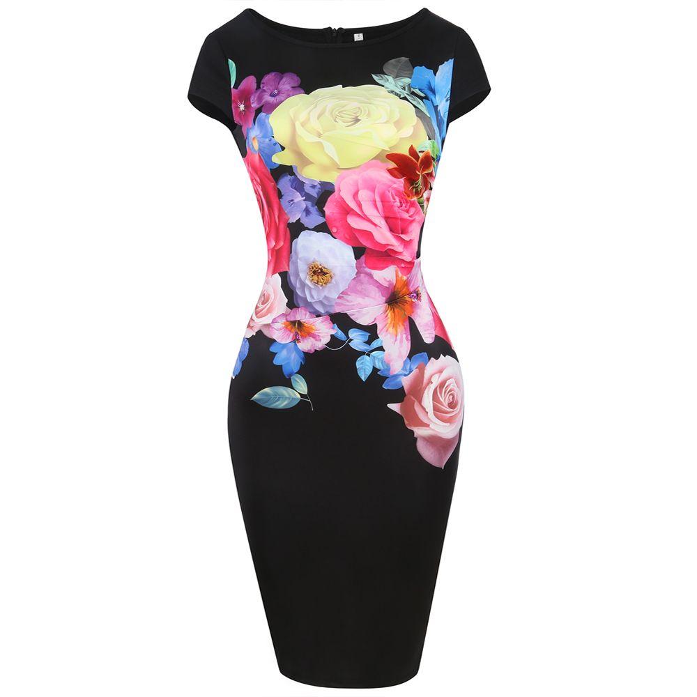 Women Chic Elegant Flower Print Stretch Patchwork Short Sleeve O Neck Slim Midi Sheath Pencil Dress Formal Dinner Party Dress