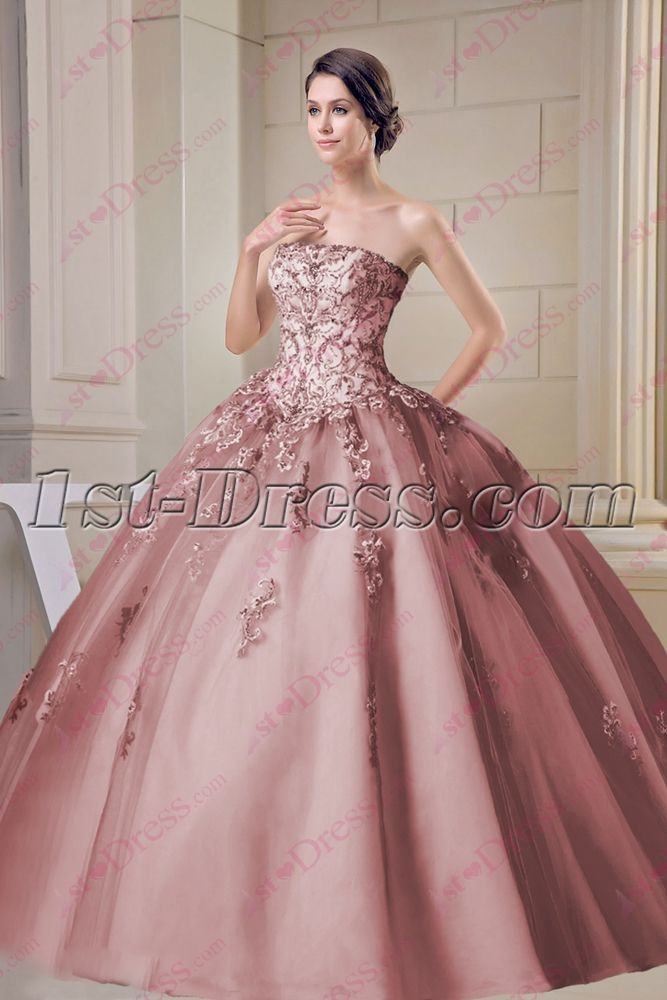 1st-dress.com Offers High Quality Beautiful Dusty Rose Strapless Sweet 15  Ball Gown 14f9af879f67