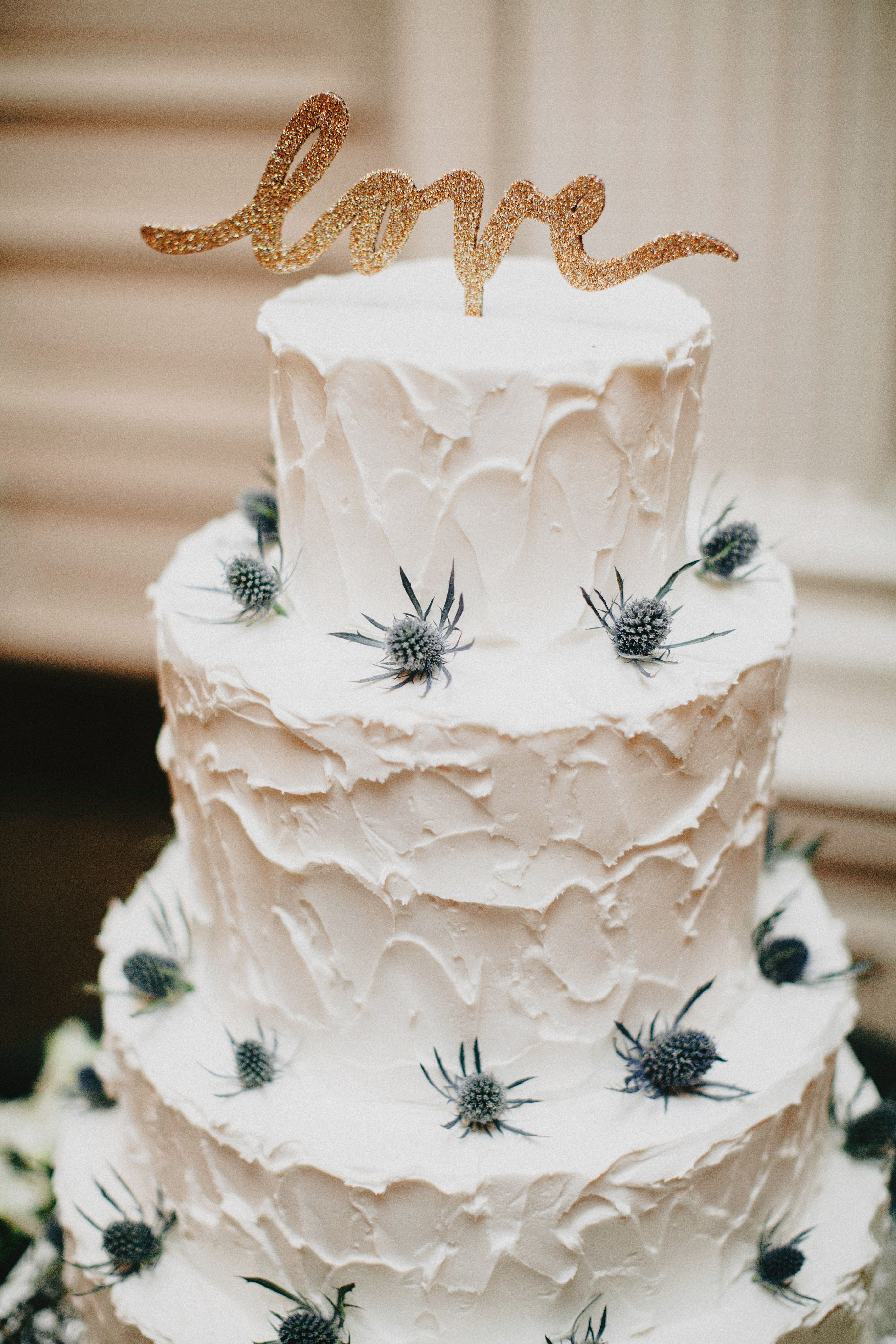 Rustic Blue Thistle-Decorated Wedding Cake | cakes | Pinterest ...