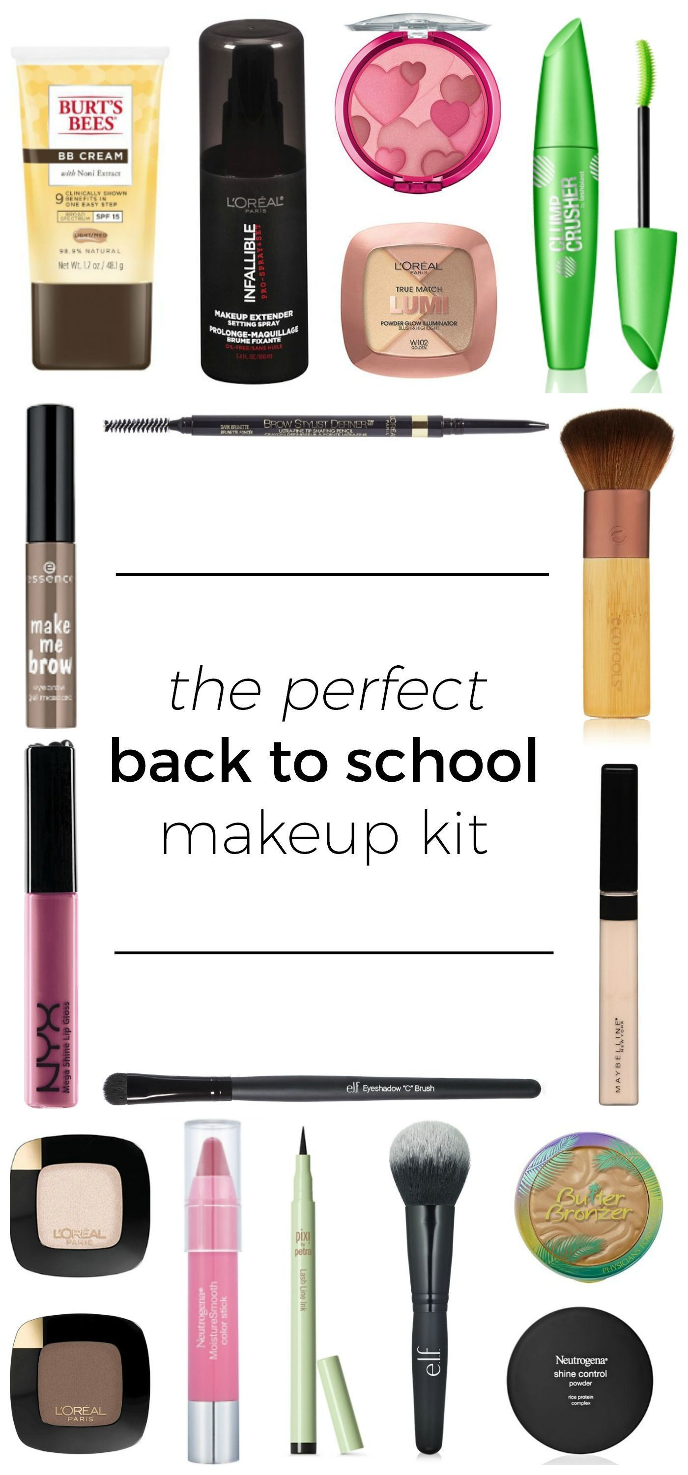 The perfect back to school makeup kit featuring affordable drugstore