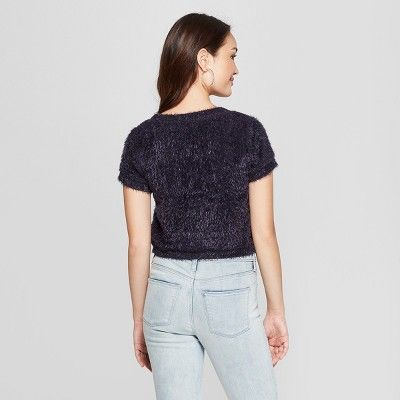 42b0010dec650 Women s Short Sleeve Fuzzy Crop Sweater T-Shirt - Soul Cake (Juniors ) Navy  M