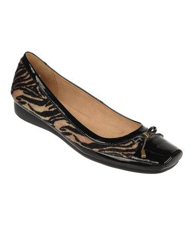 Take a look at this Tan Vercel Animal Print Vision Leather Flat by  Naturalizer on #
