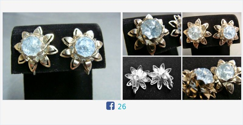 #Vintage Silver Tone #CrackleGlass Flower Screw Back #Earrings #IceBlue #gotvintage #jewelry http://www.etagerellc.com/store/p117/Vintage_Silver_Tone_Crackle_Glass_Flower_Screw_Back_Earrings_|_Ice_Blue_Glass_Earrings__.html